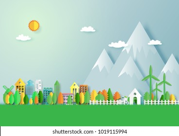 Green eco friendly city and nature forest landscape abstract background.Paper art of ecology and environment conservation creative idea concept design.Vector illustration.