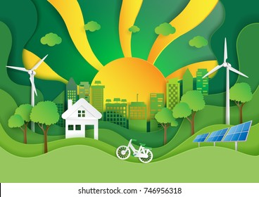 Green eco friendly city with nature landscape and sunshine paper art style.Environment conservation concept for green energy.Vector illustration.