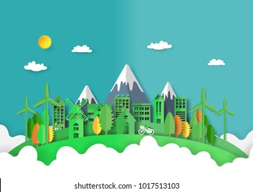 Green eco friendly and cityscape abstract background.Paper art of ecology and environment conservation creative idea concept design.Vector illustration.