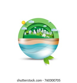 Green eco friendly and environment concept.Ocean and ecosystem conservation idea in paper art style.Vector illustration.