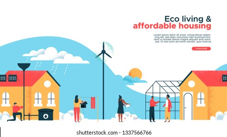 Green eco friendly houses and real estate property web landing page template. Happy diverse people in sustainable housing community. Modern building with wind turbine, solar panel, greenhouse garden.