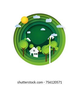 Green eco friendly paper carve background.Nature landscape and environment conservation concept design.Vector illustration.