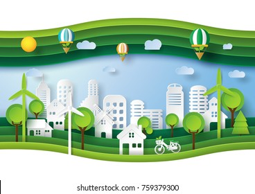 Green eco friendly and save energy concept design.Urban countryside and cityscape of environment conservation paper art style.Vector illustration.