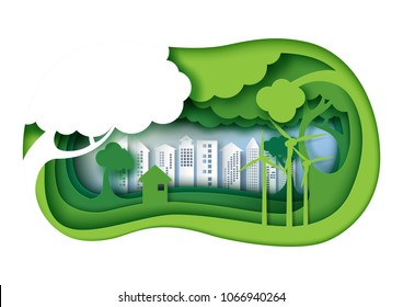 Green eco friendly urban city with 3d paper layer cut abstract nature background.Ecology and environment conservation concept design paper art style.Vector illustration.