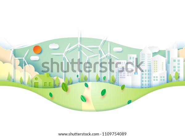 Green Eco Friendly Urban City Environment Stock Vector