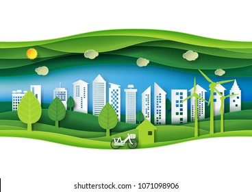Green eco friendly urban forest with paper layer cut abstract nature background.Ecology and environment conservation concept design paper art style.Vector illustration.