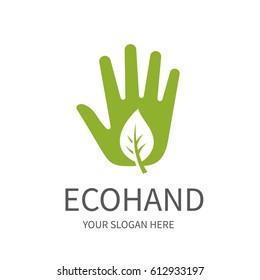 Green eco hand, vector icon.