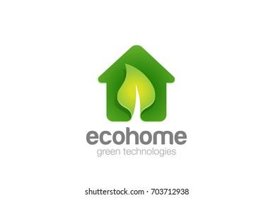 Green Eco House Logo Real Estate design vector template. Ecology Nature environment Village Farm Logotype concept icon.