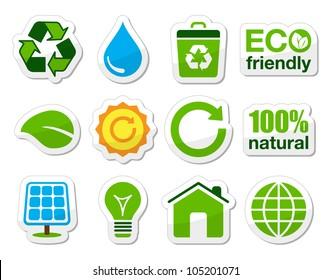 Green eco icons set