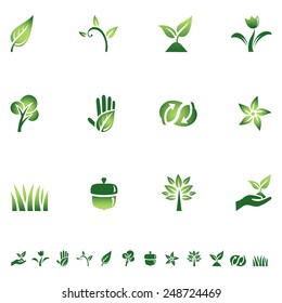 Green Eco Icons - Set of icons with different symbols of the green movement. Each icon is grouped individually for easy editing.  Colors are global, so they can be changed easily.