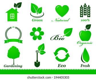 green eco icons set on white background