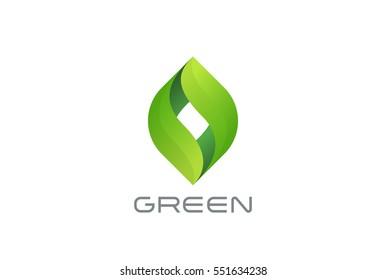 Green Eco Leaves Logo design vector template. Natural Organic cosmetics spa medicine Logotype concept icon