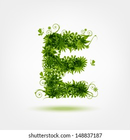 Green eco letter E for your design