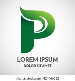 Green eco Letter P Logo Template Design