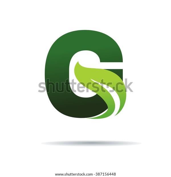 Green eco letters G logo with leaves. /symbol / alphabet / botanical / natural