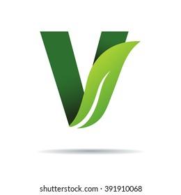 Green eco letters V logo with leaves. /symbol / alphabet / botanical / natural