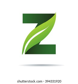 Green eco letters Z logo with leaves. /symbol / alphabet / botanical / natural
