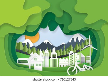 Green eco living with cityscape abstract paper cut background.Paper art style of nature and environment conservation concept design.Vector illustration.