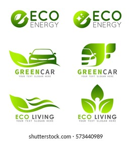 Green ECO logo with e letter , leaf and car vector set design