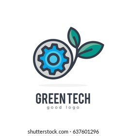 Green Eco Mechanic Industrial Simple Icon Logo Design