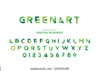 Green Eco original bold font alphabet letters and numbers for creative design template for logo. Flat illustration EPS10.