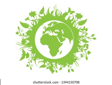 Green eco planet Earth vector. Green planet earth isolated on a white background. Planet Earth with fauna and flora vector. Environmental concept with eco planet earth