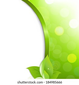 Green Eco Poster With Leaves, With Gradient Mesh, Vector Illustration