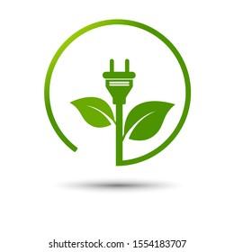 Grünes Öko-Netzstecker-Design mit grüner Erde, Vektorillustration