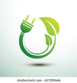 Green eco power plug design with leave, vector illustration