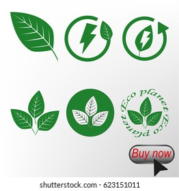 Green Eco set, vector illustration