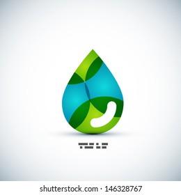 Green eco water drop vector concept