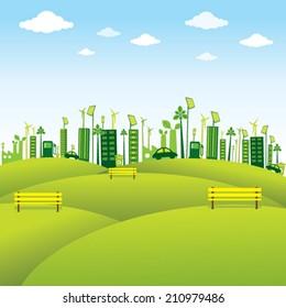 green or eco-friendly city design vector