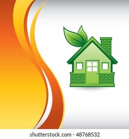 green eco-friendly home vertical orange wave backdrop