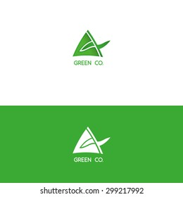 Green Ecologic corporate logo triangle abstract