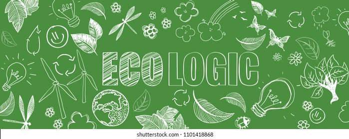 Green ecologic doodles full vector large banner