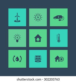 Green ecologic house, ecofriendly, energy saving technologies, square flat icons, vector illustration, eps10, easy to edit