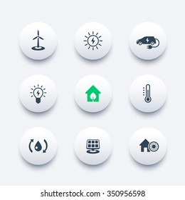 Green ecologic house, ecofriendly, energy saving technologies, round modern icons, vector illustration