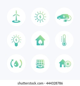 Green ecologic house, ecofriendly, energy saving technologies modern icons set