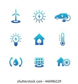 Green ecologic house, ecofriendly, energy saving technologies, blue icons
