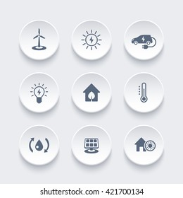 Green ecologic house, energy saving technologies icons on round 3d shapes, vector illustration