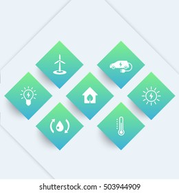 Green ecologic house icons, modern, ecofriendly, energy saving technologies, pictograms on geometric shapes
