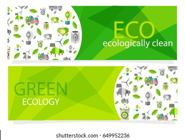 Green ecological equipment collection for human usage. Vector colorful poster with transport and other things that are safe for nature