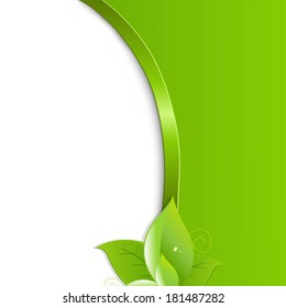 Green Ecology Background With Leaves, With Gradient Mesh, Vector Illustration