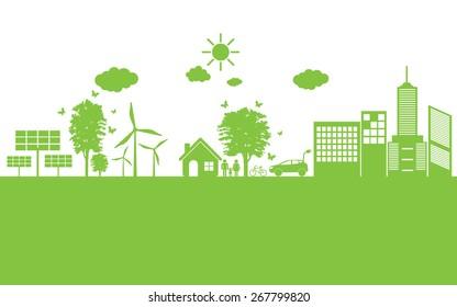 Green ecology City environmentally friendly .