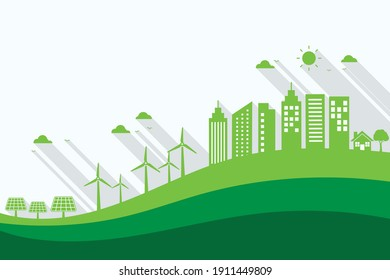 green ecology and cityscape background. ecology and sustainable poster banner. copy space for text input. vector illustration in flat style modern design.  world environment day concept.