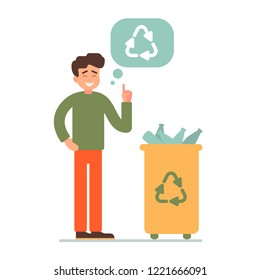 Green ecology energy concept. the boy gathering plastic bottles in a bin with a recycling sign. gathering garbage and plastic waste for recycling. Vector illustration
