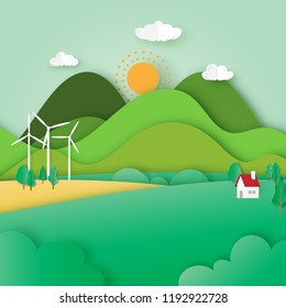 Green ecology and environment concept with nature landscape paper cut abstract background.Vector illustration.