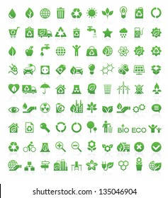 Green, Ecology and environment icon set in vector format