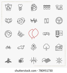 Green, Ecology and environment line icon set