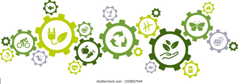 Green ecology, environment, sustainability icons / gears concept -  vector illustration